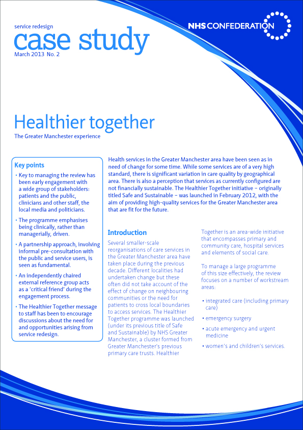 Front cover of a healthcare industry information leaflet