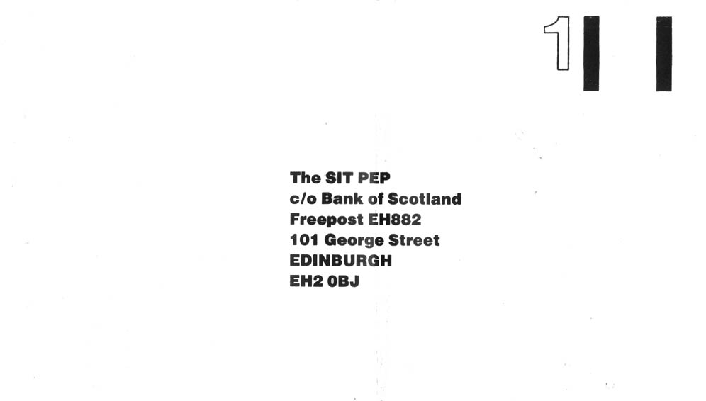 Example of a pre-paid envelope design to accompany an investment brochure
