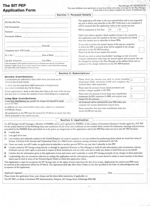 Example of a form to accompany an investment brochure
